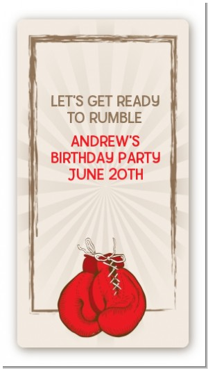 Boxing Gloves - Custom Rectangle Birthday Party Sticker/Labels