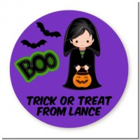 Boy Cape Costume - Round Personalized Halloween Sticker Labels