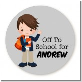 Boy Student - Round Personalized School Sticker Labels