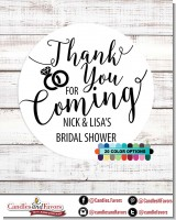 Thank You For Coming - Round Personalized Bridal Shower Sticker Labels