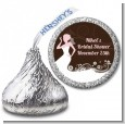 Bridal Silhouette Floral Pink - Hershey Kiss Bridal Shower Sticker Labels thumbnail