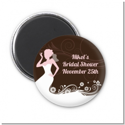 Bridal Silhouette Floral Pink - Personalized Bridal Shower Magnet Favors