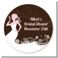 Bridal Silhouette Floral Pink - Round Personalized Bridal Shower Sticker Labels thumbnail