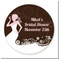 Bridal Silhouette Floral Pink - Round Personalized Bridal Shower Sticker Labels