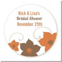 Brown Clematis - Round Personalized Sticker Labels