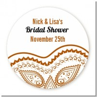 Brown Paisley - Round Personalized Sticker Labels