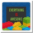 Building Blocks - Square Personalized Birthday Party Sticker Labels thumbnail