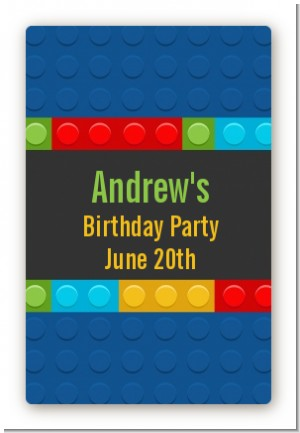 Building Blocks - Custom Large Rectangle Birthday Party Sticker/Labels