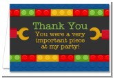 Building Blocks - Birthday Party Thank You Cards