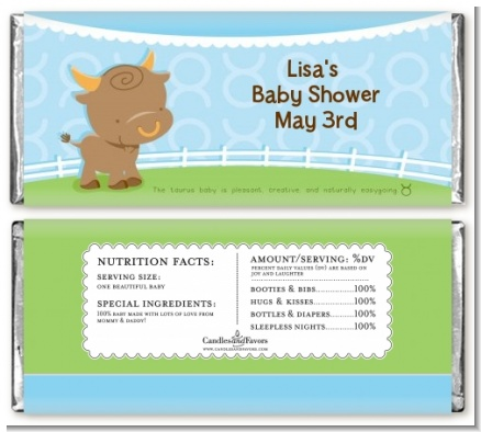 Bull | Taurus Horoscope - Personalized Baby Shower Candy Bar Wrappers