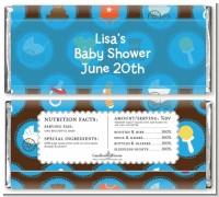 Baby Icons Blue - Personalized Baby Shower Candy Bar Wrappers