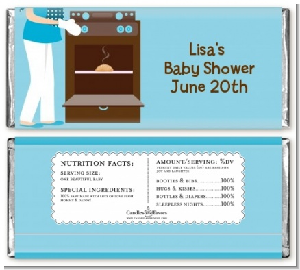 Bun in the Oven Boy - Personalized Baby Shower Candy Bar Wrappers