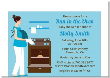 Bun in the Oven Boy - Baby Shower Petite Invitations