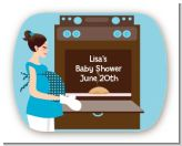 Bun in the Oven Boy - Personalized Baby Shower Rounded Corner Stickers