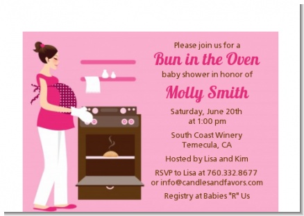 Bun in the Oven Girl - Baby Shower Petite Invitations