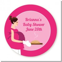 Bun in the Oven Girl - Round Personalized Baby Shower Sticker Labels
