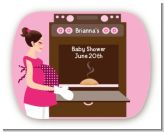 Bun in the Oven Girl - Personalized Baby Shower Rounded Corner Stickers