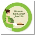 Bun in the Oven Neutral - Round Personalized Baby Shower Sticker Labels thumbnail