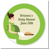 Bun in the Oven Neutral - Round Personalized Baby Shower Sticker Labels