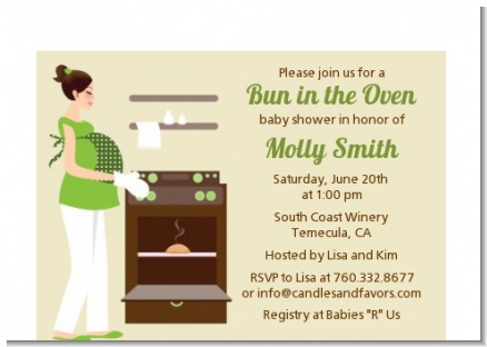 Bun in the Oven Neutral - Baby Shower Petite Invitations