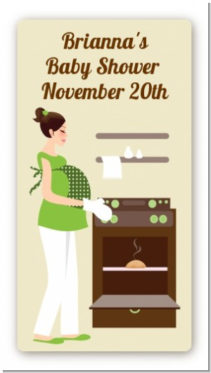 Bun in the Oven Neutral - Custom Rectangle Baby Shower Sticker/Labels