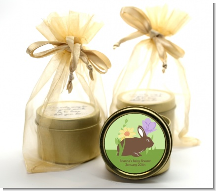 Bunny - Baby Shower Gold Tin Candle Favors