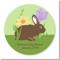 Bunny - Round Personalized Baby Shower Sticker Labels