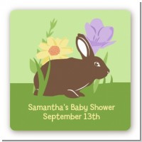 Bunny - Square Personalized Baby Shower Sticker Labels