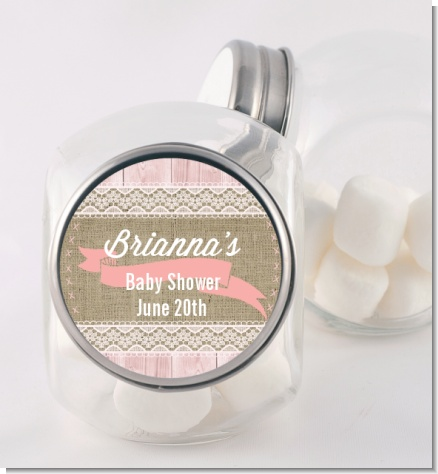 Burlap Shabby Chic - Personalized Baby Shower Candy Jar