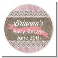Burlap Shabby Chic - Round Personalized Baby Shower Sticker Labels thumbnail