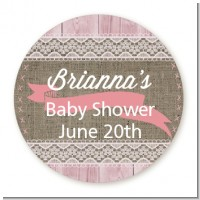Burlap Shabby Chic - Round Personalized Baby Shower Sticker Labels