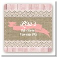 Burlap Shabby Chic - Square Personalized Baby Shower Sticker Labels thumbnail