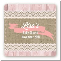 Burlap Chic - Square Personalized Baby Shower Sticker Labels