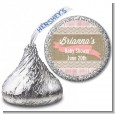 Burlap Shabby Chic - Hershey Kiss Baby Shower Sticker Labels thumbnail