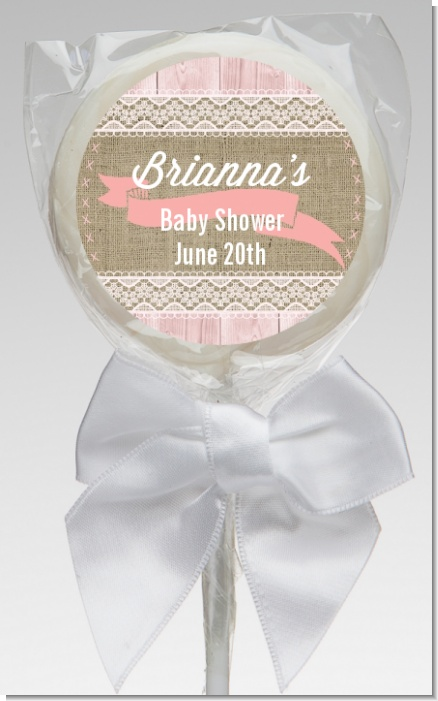 Burlap Shabby Chic - Personalized Baby Shower Lollipop Favors