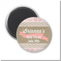 Burlap Shabby Chic - Personalized Baby Shower Magnet Favors