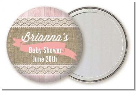 Burlap Shabby Chic - Personalized Baby Shower Pocket Mirror Favors