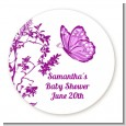 Butterfly - Round Personalized Baby Shower Sticker Labels thumbnail