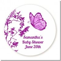 Butterfly - Round Personalized Baby Shower Sticker Labels