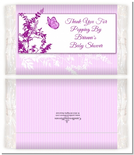 Butterfly - Personalized Popcorn Wrapper Baby Shower Favors