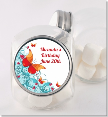 Butterfly Wishes - Personalized Birthday Party Candy Jar
