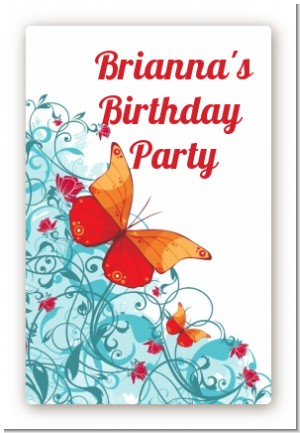 Butterfly Wishes - Custom Large Rectangle Birthday Party Sticker/Labels