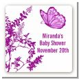 Butterfly - Square Personalized Baby Shower Sticker Labels thumbnail