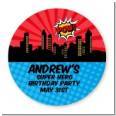 Calling All Superheroes - Round Personalized Birthday Party Sticker Labels