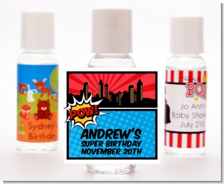 Calling All Superheroes - Personalized Birthday Party Hand Sanitizers Favors