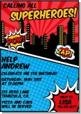 Calling All Superheroes - Birthday Party Invitations