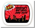 Calling All Superheroes - Personalized Birthday Party Rounded Corner Stickers thumbnail