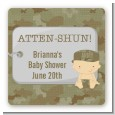 Camo Military - Square Personalized Baby Shower Sticker Labels thumbnail