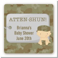 Camo Military - Square Personalized Baby Shower Sticker Labels