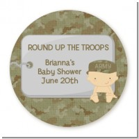 Camo Military - Round Personalized Baby Shower Sticker Labels
